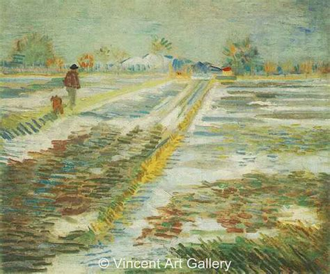 Landscape Paintings Gogh Landscape With Snow By Vincent Gogh Painting