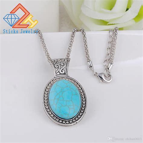 turquoise stone necklace wholesale fashion natural stone turquoise oval shape