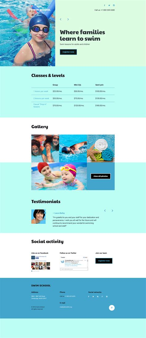 responsive landing page templates swimming school responsive landing page template 58233