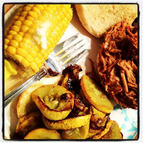 piece of cake recipes crockpot pulled pork and sauteed squash