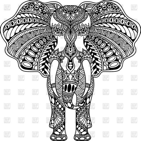 henna pattern vector henna mehndi tattoo style indian elephant royalty free
