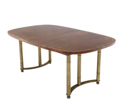 Oval Dining Room Tables With A Leaf Mastercraft Burl Wood Oval Dining Table With Two Leaves At 1stdibs