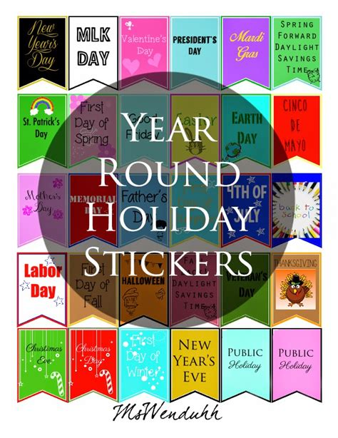 free printable holiday planner stickers mswenduhh planning printable free printable stickers