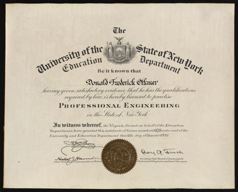 certificate licensing donald  othmer   professional engineer   state   york