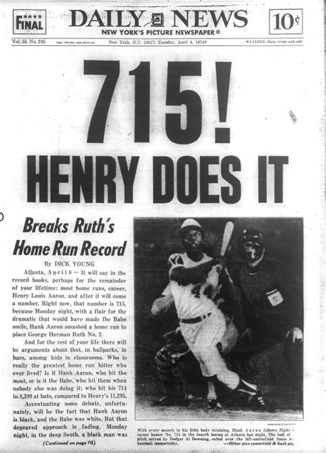 715 hank aaron breaks ruth s home run record ny