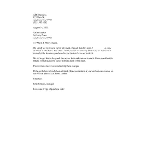 letter format for cancellation of telephone connection free printable business forms letter templates
