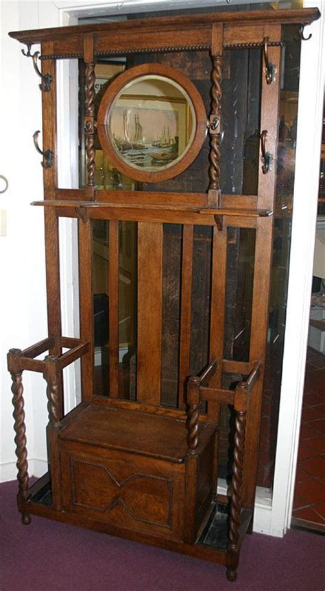 antique oak hall tree with bench and mirror antique hall tree arts and crafts oak hall tree english