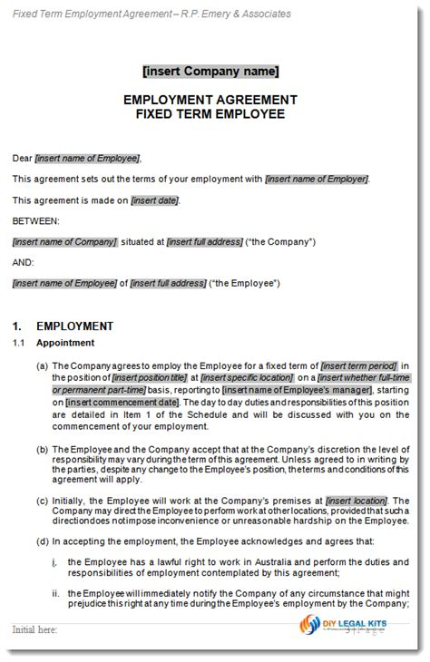 terms of employment contract template employment contract fixed term agreement