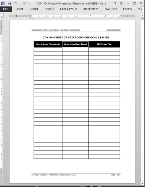 template for index chemicals msds index template