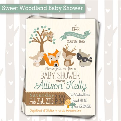 Woodland Animals Baby Shower by Sweet Woodland Baby Shower Invitation Baby Boy Or