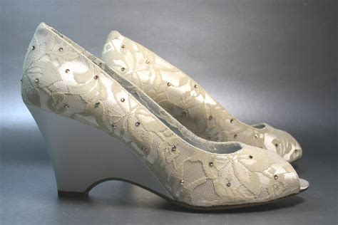 Ivory Wedge Wedding Shoes by Ivory Lace Wedge Wedding Shoes With Crystals Onewed