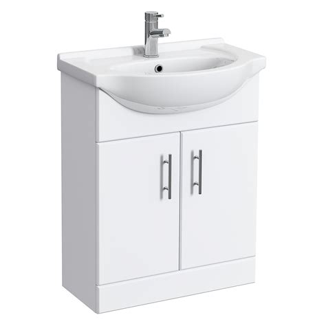 alaska high gloss white vanity unit with ceramic basin