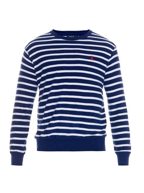 Striped Sleeved T Shirt lyst polo ralph striped terry towelling