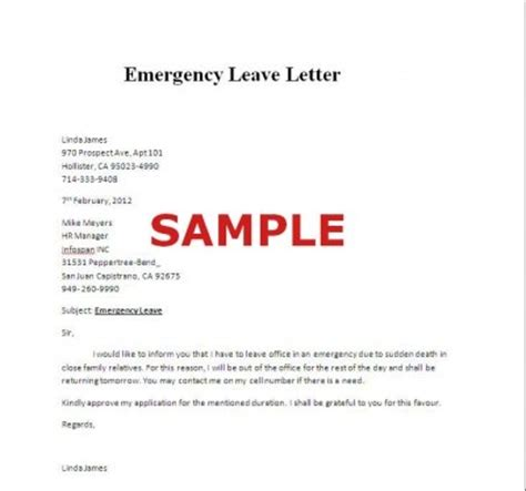 Request Of Advance Letter Emergency Sle Of Emergency Leave Letter Careers Letters