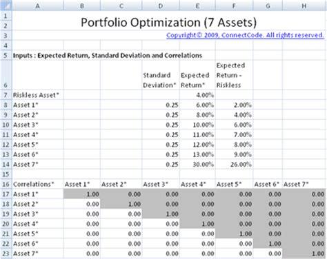 Professional Portfolio Optimization Spreadsheet Portfolio Optimization Excel Template