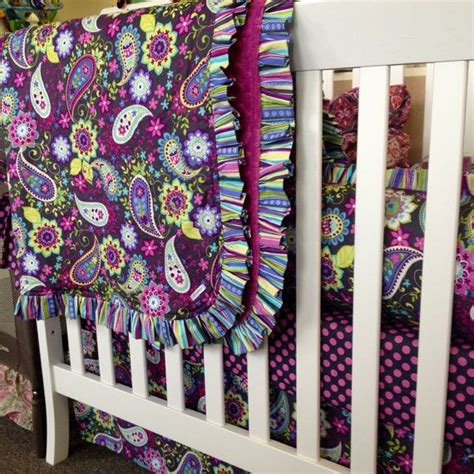 Purple Paisley Crib Bedding Ready To Ship Purple Paisley Polka Dot And Stripe 4pc Crib Bedding On Etsy 399 00
