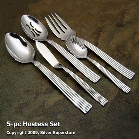 royal 5 pc hostess set contemporary flatware by crescendo ii by reed and barton stainless flatware at