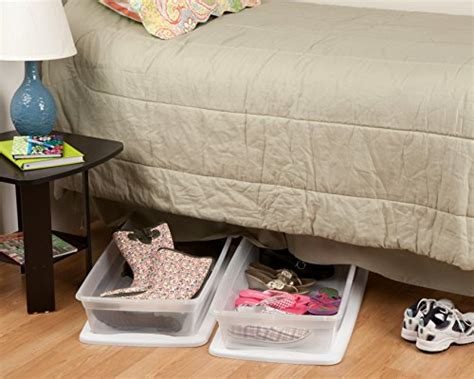 slim underbed storage sterilite 41 quart 39 liter underbed slim storage box clear w white lid 6 pack ebay
