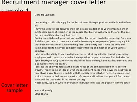 Talent Acquisition Manager Cover Letter by Recruitment Manager Cover Letter