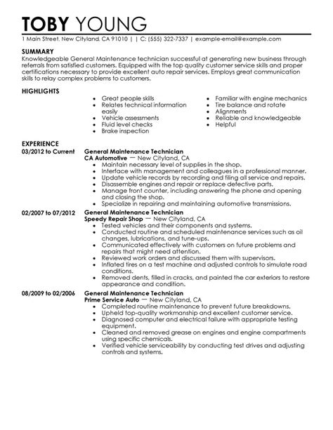 Maintenance Technician Resume Sample by General Maintenance Technician Resume Example Automotive