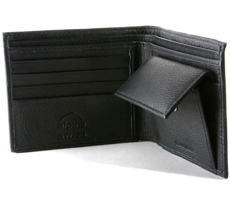 Leather Wallet Coin mens leather bifold wallet coin pocket purse pouch alpine