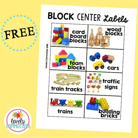 printable labels for kindergarten classroom preschool block center lovely commotion