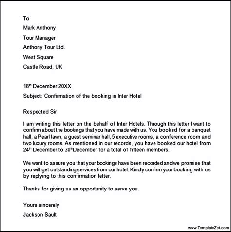 Confirmation Letter Exle Hotel booking confirmation letter templatezet