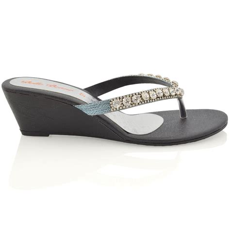 sparkly heeled sandals new womens low heel wedge diamante sandals toe post