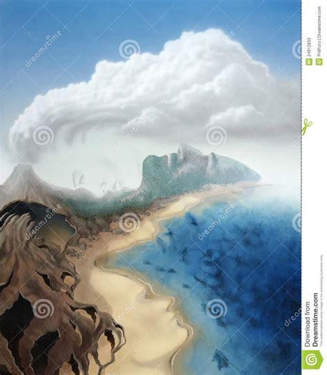 imagenes surrealistas de paisajes caras surrealistas en un paisaje virtual fotos de archivo