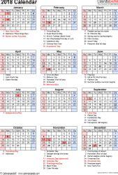 2018 Calendar With Holidays And Observances 2018 Calendar Pdf 17 Free Printable Calendar Templates