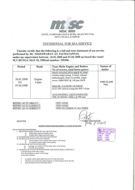 Sea Service Letter Sle Testimonial For Sea Service
