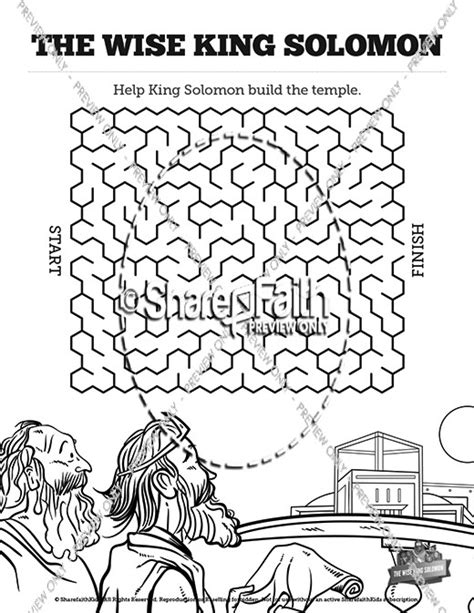king solomon coloring pages activities the wisdom of solomon bible mazes bible mazes