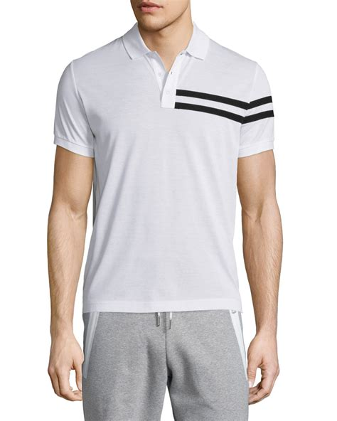 Stripe Sleeve Polo moncler side stripe sleeve polo shirt in white for