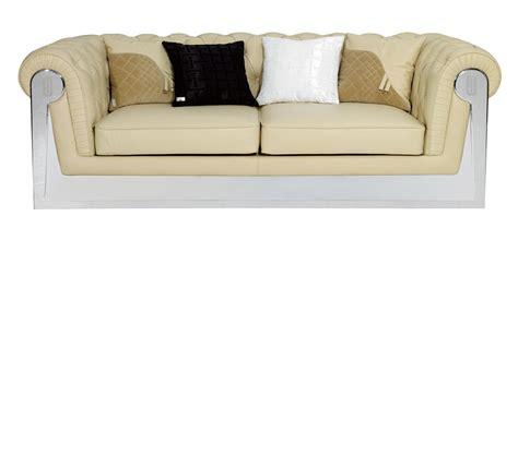 Beige Leather Sofas Dreamfurniture Stainless Steel Framed Beige Leather Sofa