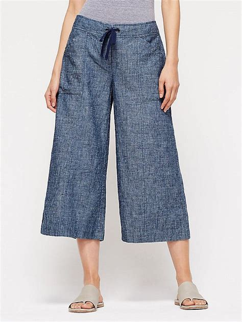 Kulot Sy T1310 3 wide leg ankle pant in hemp and organic cotton chambray clothing inspiration