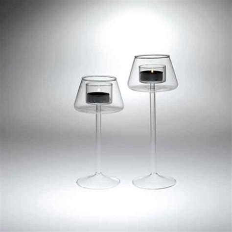 candele in vetro portacandele tealight a stelo lungo in vetro cm 14 5 rgmania