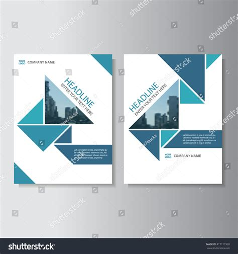 Blue Triangle Vector Annual Report Leaflet Stock Vector 417111928 Shutterstock Annual Report Layout Design Template
