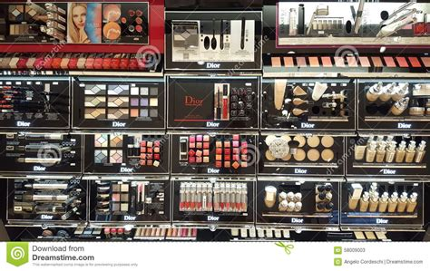 Make Up The Shop make up products shop shelves editorial stock photo