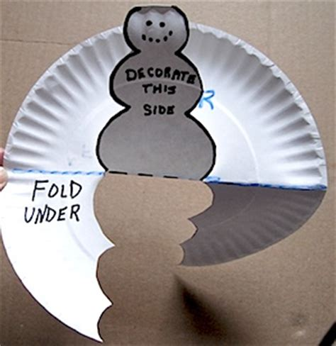 How To Make A Paper Plate Snowman - paper plate pop up snowman