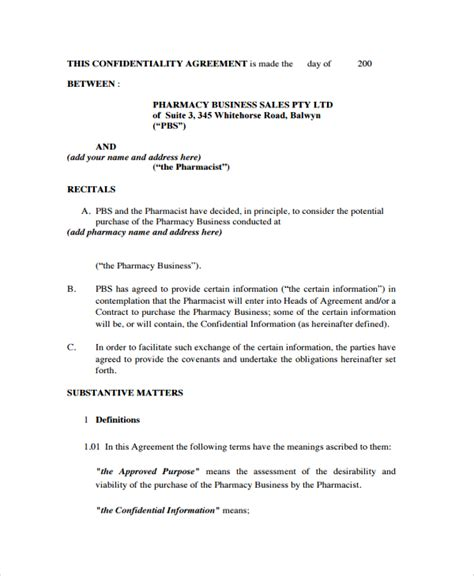 business confidentiality agreement template sle business confidentiality agreement template 7