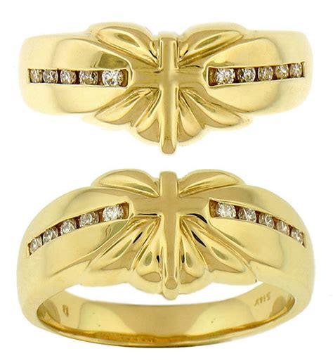 14k gold cross sunburst wedding bands 1043