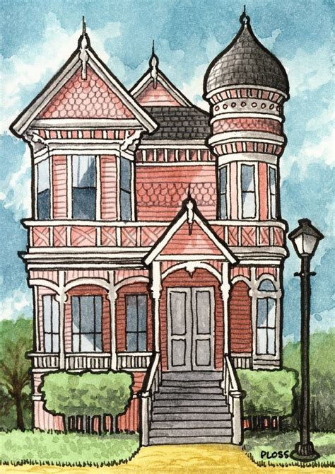 victorian house drawings victorian houses 5x7 three print set by geneploss on etsy