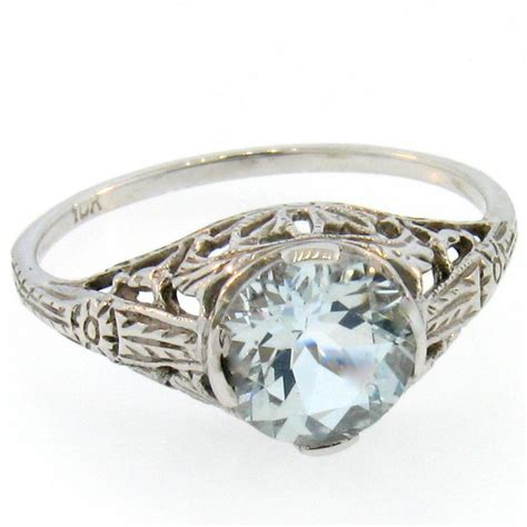 10k white gold genuine aquamarine antique vintage design