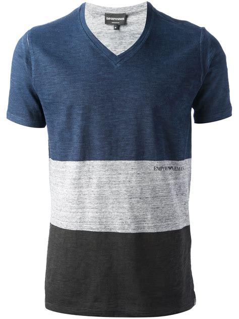 Kaosbajut Shirt Armani 2 lyst emporio armani v neck t shirt in blue for