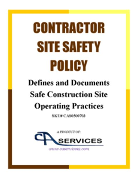 Construction Contractor Site Safety Policy Template