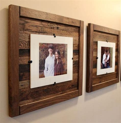 reclaimed wood frames rustic wood frames set      etsy