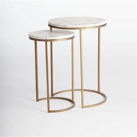 elm c table nesting side tables set marbleantique brass elm