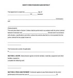 standard subcontract agreement template subcontractor agreement template 10 free word pdf