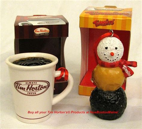 tim hortons christmas ornametns canada tim hortons ordaments a cup of coffee orrrr a timbits snowman thought they looked