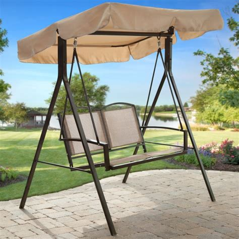 Patio Furniture Canopy Astonishing Patio Swing With Canopy From Light Brown Canvas Fabric Also Outdoor Furniture